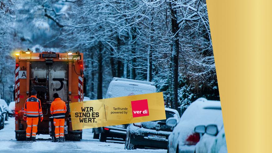 Motivbild Abfallwagen in winterlicher Straße. Wort-Bildmarke: Wir sind es wert.