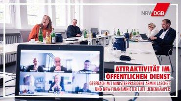 Anja Weber (DGB NRW) und Frank Bethke (ver.di NRW) im Gespräch mit der Landesregierung NRW